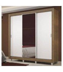 guarda roupa casal madesa lyon plus 3 portas de correr com espelho 4 gavetas com pés rustic/branco branco