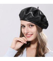 cappellino per berretti da donna casual in pelle tinta unita invernale caldo in lana per donna