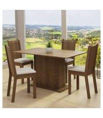 conjunto sala de jantar madesa luana mesa tampo de vidro com 4 cadeiras rustic/pérola