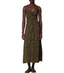 women's sandro carolina floral gathered tie maxi dress, size 6 us - black