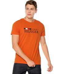 camiseta naranja tommy hilfiger