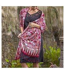 batik silk shawl, 'maroon garden' (indonesia)