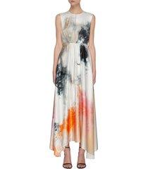 watercolour print maxi dress