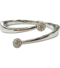 inc silver-tone pave fireball bypass bangle bracelet, created for macy's
