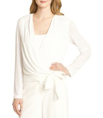 tahari asl sequined wrap top