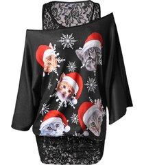 christmas plus size lace insert cat print t-shirt
