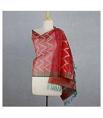 silk shawl, 'scarlet fantasy' (india)