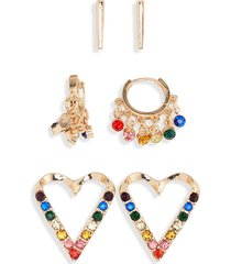 women's bp. 3-pack rainbow heart earrings
