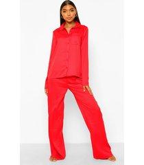 tall gestreepte jacquard pyjama set met broek, rood