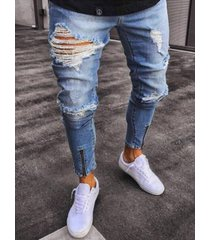 hombres otoño casual cremallera ripped tapered fit jeans