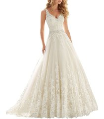 cheap a line v neck lace wedding dress ivory,wedding gown,bridal dress 2017
