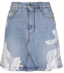 ermanno scervino medium blue denim mini skirt with white lace