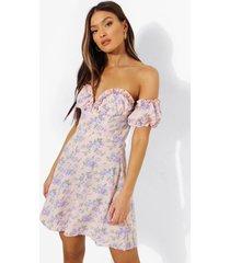 bloemenpatroon mini jurk met ruches en korset detail, pink