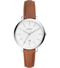 fossil jacqueline three-hand date brown leather watch 36mm