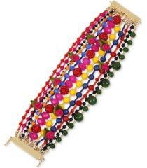 betsey johnson gold-tone bead, fireball & fabric rose multi-row statement bracelet