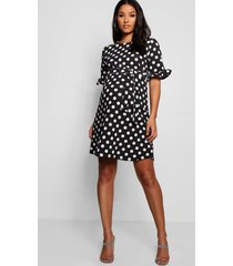 maternity spot print ruffle smock dress, black