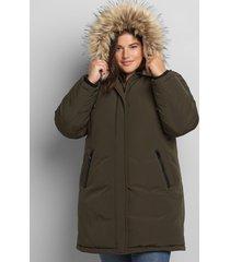 lane bryant women's faux-fur trim hooded parka coat 26/28 olive