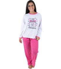pijama linha noite longo pink