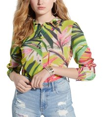 guess clouis collared tropical-print top