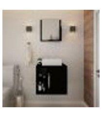 conjunto para banheiro gabinete com cuba q32 e espelheira soft 500 preto ônix
