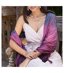 silk scarf, 'peacock transition' (thailand)