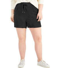 style & co plus size tie-front shorts, created for macy's