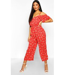floral cold shoulder cropped jumpsuit