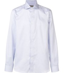 canali checked pointed collar shirt - blue