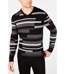 alfani men's textured striped v-neck sweater, created for macy's