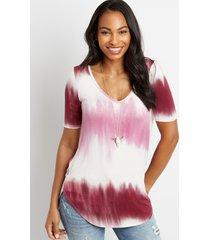 maurices womens 24/7 flawless magenta tie dye tee pink