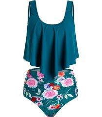 plus size flower ruched flounce high rise tankini swimwear