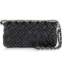 fontanelli designer handbags, pleated nappa leather clutch