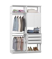 closet com armário 3 gavetas 2 cabides branco lilies móveis