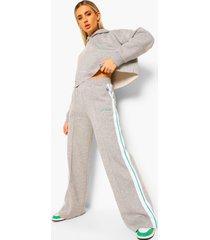 korte hoodie met streep & wide leg joggingbroek, grey