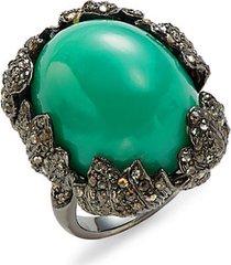 black rhodium-plated sterling silver, chrysoprase & diamond ring