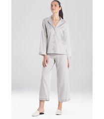 natori cotton sateen essentials sleepwear pajamas & loungewear with piping, women's, 100% cotton, size l natori