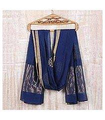 cotton and silk blend shawl, 'zari elegance' (india)