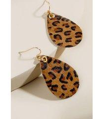 lacey leopard teardrop earrings - leopard