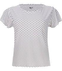 camiseta puntos negros color blanco, talla m
