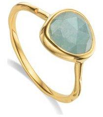 siren aquamarine stacking ring, gold vermeil on silver