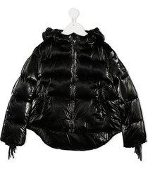 monnalisa puffer tassel jacket - black