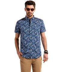 camisa manga corta estampada blue flores azul ferouch