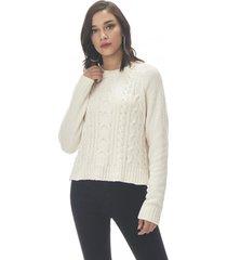 sweater trenzado chenille ecru corona