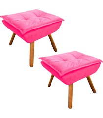 kit 02 puff  decorativo d'rossi opala suede rosa barbie