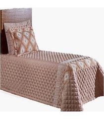 cobre leito hibiscus kit colcha solteiro 4 peças rosê