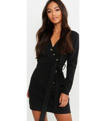 petite horn button belted wrap dress, black