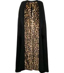 dries van noten pre-owned leopard cape - black