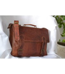 men's genuine vintage brown leather messenger bag shoulder laptop bag briefcase
