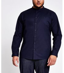 river island mens big & tall navy grandad slim fit shirt