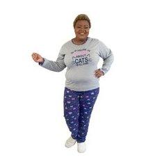 "pijama feminino if you're talking"" cinza e azul plus size"""